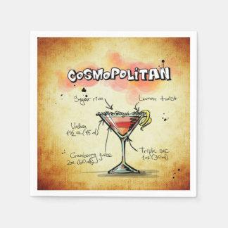 Servilletas De Papel Receta cosmopolita de la bebida del camarero