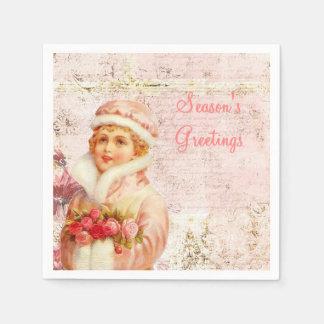 Servilletas de papel rosadas del Victorian