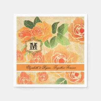 Servilletas De Papel Rosas del melocotón personalizados casando las