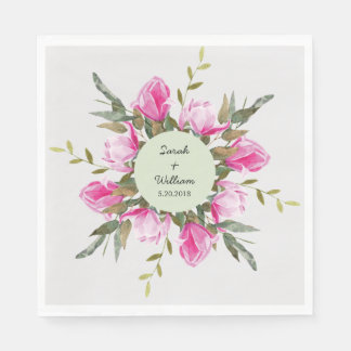 Servilletas De Papel Servilleta de papel de la acuarela floral de la