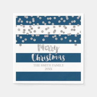 Servilletas De Papel Servilleta de plata azul de las Felices Navidad