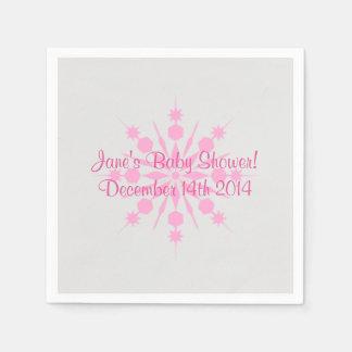 Servilletas De Papel Servilletas grises y rosadas del copo de nieve