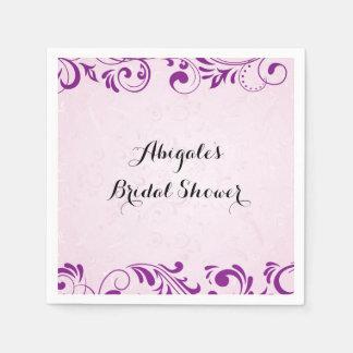 Servilletas De Papel Servilletas nupciales personalizadas púrpura del