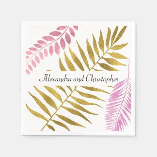 Servilletas De Papel Servilletas tropicales color de rosa del boda del
