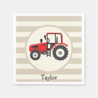 Servilletas De Papel Tractor de granja rojo en rayas del moreno