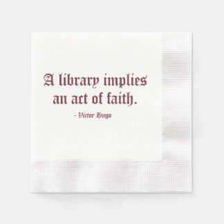 Servilletas De Papel Una biblioteca implica un acto de la fe