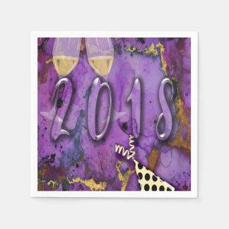 Servilletas De Papel Vaya de fiesta oro púrpura de Noche Vieja del