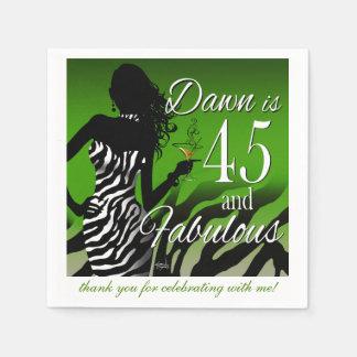 Servilletas De Papel Verde del cumpleaños el | de la cebra 45.a de la