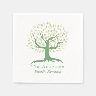 Servilletas De Papel Verde elegante del árbol de familia de la reunión