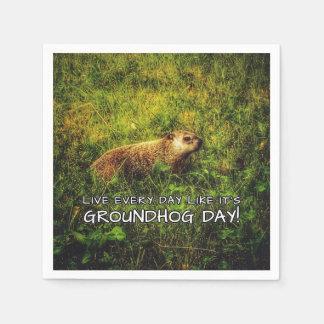 Servilletas De Papel ¡Vive cada día como es día de la marmota!