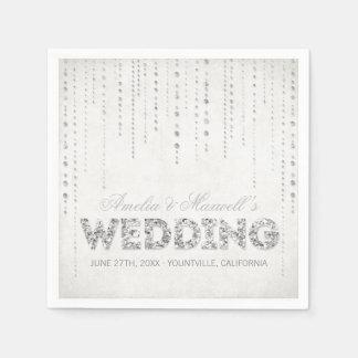 Servilletas de plata del boda de la mirada del bri servilleta de papel