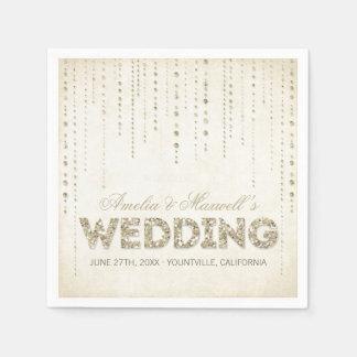 Servilletas del boda de la mirada del brillo del o servilleta de papel