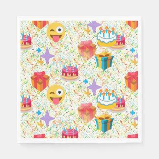 servilletas del emoji del feliz cumpleaños servilleta de papel