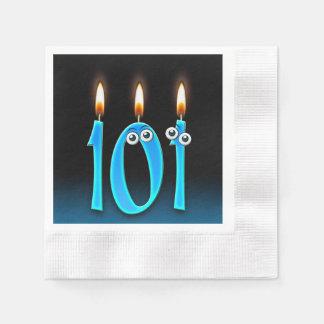 Servilletas Desechables 101a vela del cumpleaños con los globos del ojo