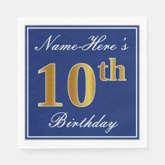 Servilletas Desechables 10mo cumpleaños elegante del oro azul, falso;