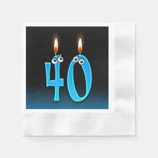 Servilletas Desechables 40.a vela del cumpleaños con los globos del ojo
