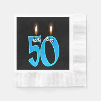 Servilletas Desechables 50.a vela del cumpleaños con los globos del ojo
