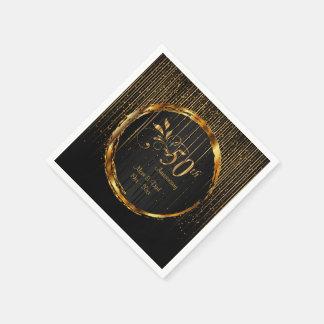 Servilletas Desechables 50.o diseño de oro moderno del aniversario de la