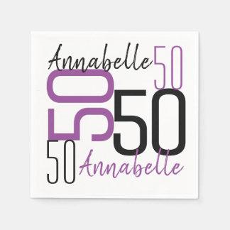 Servilletas Desechables 50.o Púrpura del cumpleaños personalizada