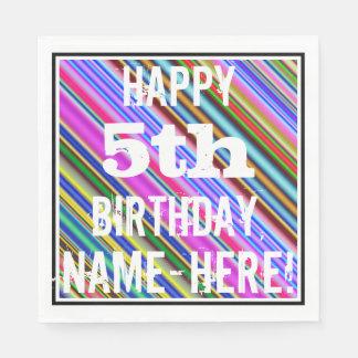 Servilletas Desechables 5to cumpleaños vibrante, colorido + Nombre de