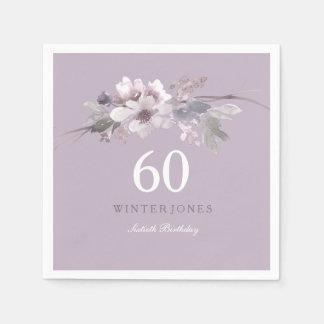 Servilletas Desechables 60.a fiesta de cumpleaños floral púrpura elegante