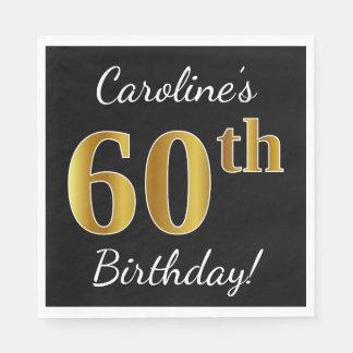 Servilletas Desechables 60.o cumpleaños del oro negro, falso + Nombre de