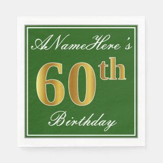 Servilletas Desechables 60.o cumpleaños elegante del oro verde, falso +