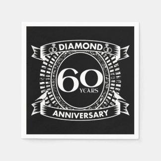 Servilletas Desechables 60.o escudo del diamante del aniversario de boda