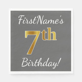 Servilletas Desechables 7mo cumpleaños del oro gris, falso + Nombre de