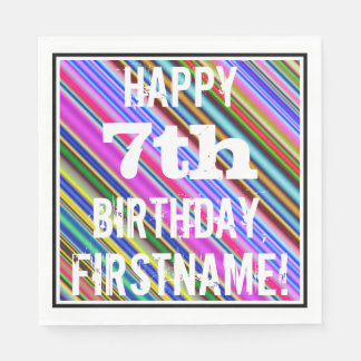 Servilletas Desechables 7mo cumpleaños vibrante, colorido + Nombre de