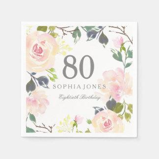 Servilletas Desechables 80.a fiesta de cumpleaños elegante color de rosa