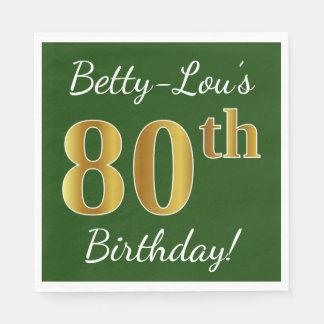 Servilletas Desechables 80.o cumpleaños del oro verde, falso + Nombre de