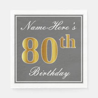 Servilletas Desechables 80.o cumpleaños elegante del oro gris, falso;