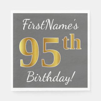 Servilletas Desechables 95.o cumpleaños del oro gris, falso + Nombre de