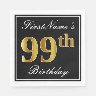 Servilletas Desechables 99.o cumpleaños del oro elegante, falso + Nombre