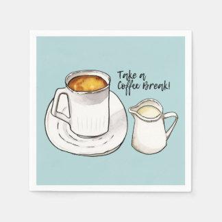Servilletas Desechables Acuarela del descanso para tomar café y ejemplo de