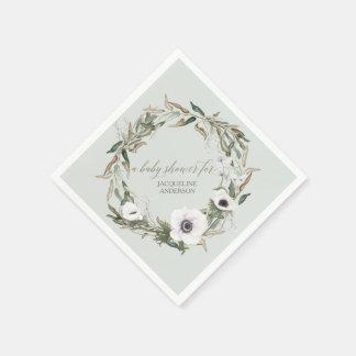 Servilletas Desechables Acuarela floral de la anémona de la guirnalda del