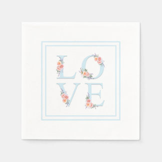 Servilletas Desechables Amor en alfabeto floral en colores pastel de la