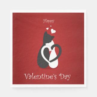 Servilletas Desechables Amor lindo de los gatos del el día de San Valentín