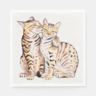 Servilletas Desechables Arte lindo de la acuarela de dos gatos de Bengala