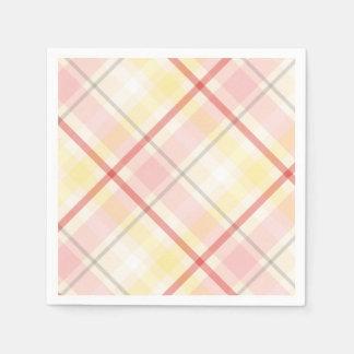 Servilletas Desechables Banquete de boda rosado y amarillo de Argyle de la