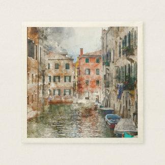 Servilletas Desechables Barcos en los canales de Venecia Italia