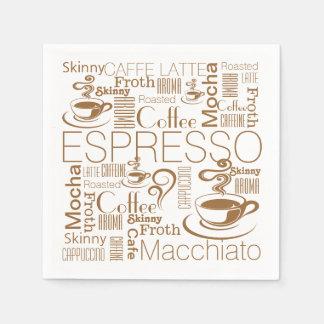 Servilletas Desechables Blanco del marrón del modelo del collage del café