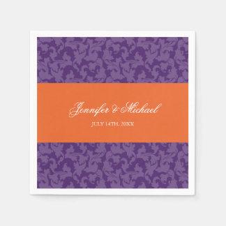 Servilletas Desechables Boda púrpura anaranjado del remolino del damasco