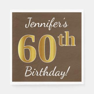 Servilletas Desechables Brown, 60.o cumpleaños del falso oro + Nombre de