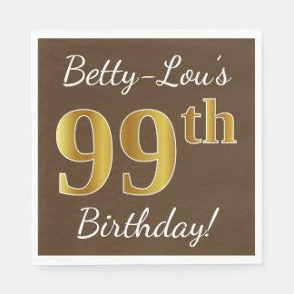 Servilletas Desechables Brown, 99.o cumpleaños del falso oro + Nombre de