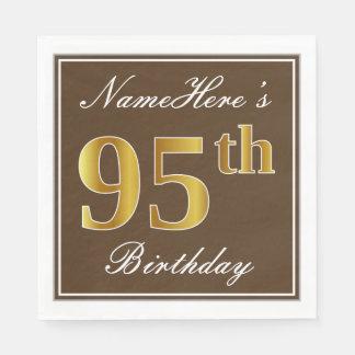 Servilletas Desechables Brown elegante, 95.o cumpleaños del falso oro +