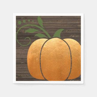 Servilletas Desechables Calabaza de madera rústica del otoño del oro