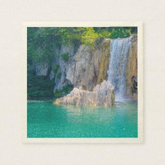 Servilletas Desechables Cascada en el parque nacional de Plitvice en