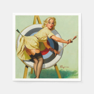 Servilletas Desechables Chica del Pin-Para arriba del tiro al arco